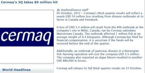 Cermaq stock losses Oct 2012 Seafood Source