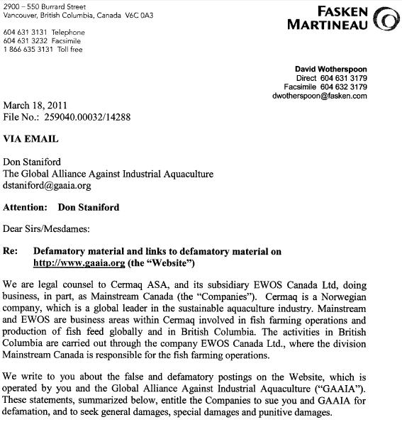 Cermaq 18 March 2011 letter