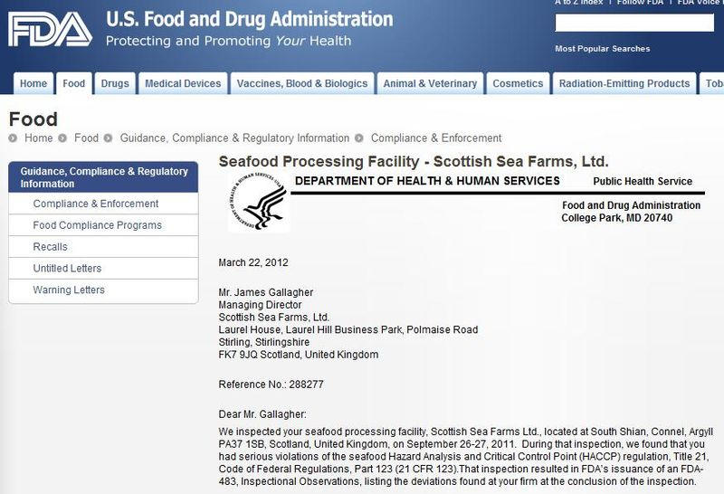 Scottish Sea farms #6 FDA warning letter