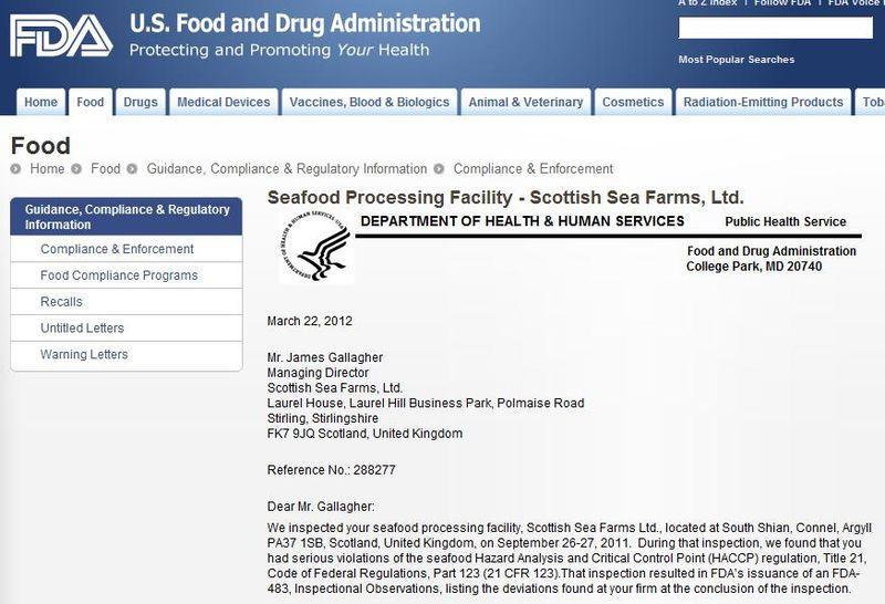 Scottish Sea farms #6 FDA warning letter