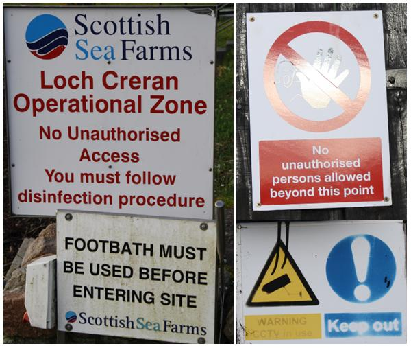 Scottish sea farms #16 South Shian warning signs
