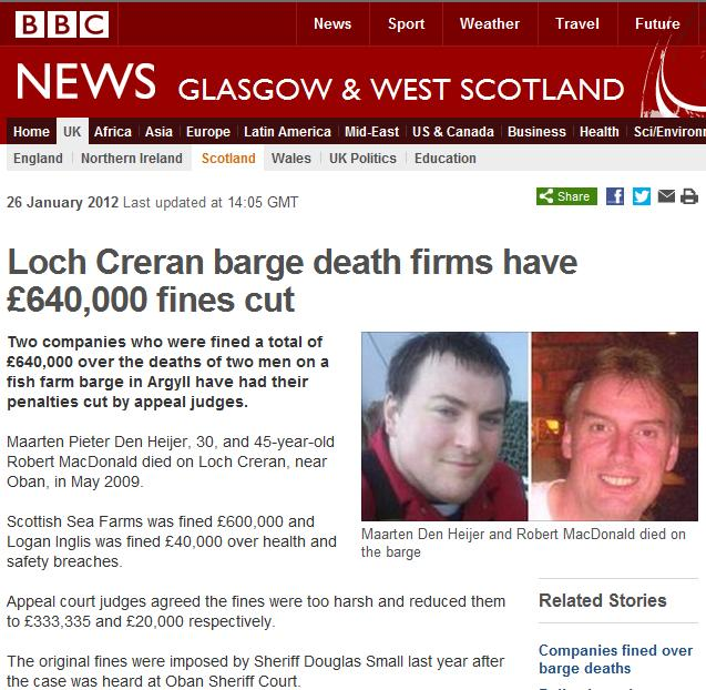 Scottish sea farms #26 BBC deaths