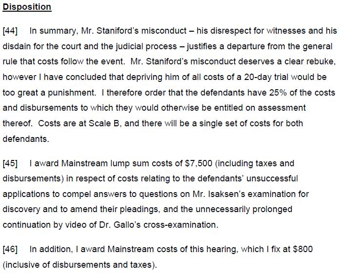 Costs disposition 19 Dec 2012