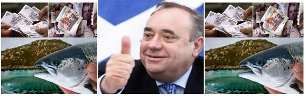Alex Salmond thumbs up salmon farms