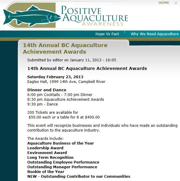 Aquaculture awards PAA