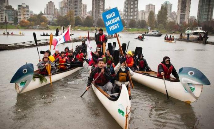 Wild Salmon First in canoes in Vancouver