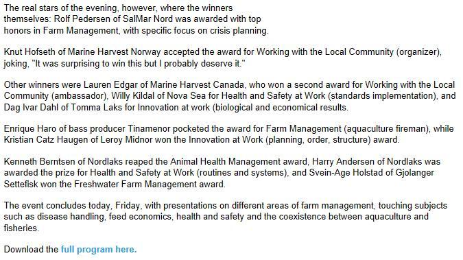 Aquaculture Awards 2013 #3 Intrafish