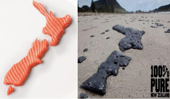 Photo #1 salmon and oil in shape of NZ