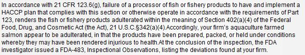 Scottish Sea farms #7 FDA warning letter
