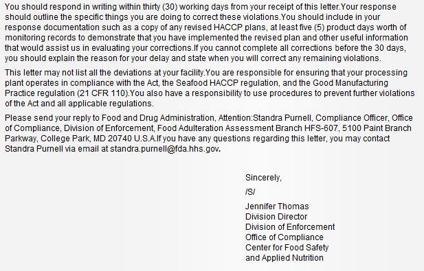 Scottish Sea farms #8 FDA warning letter