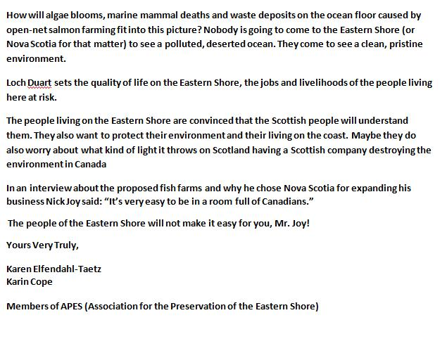 Letter to Loch Duart from Canada 2