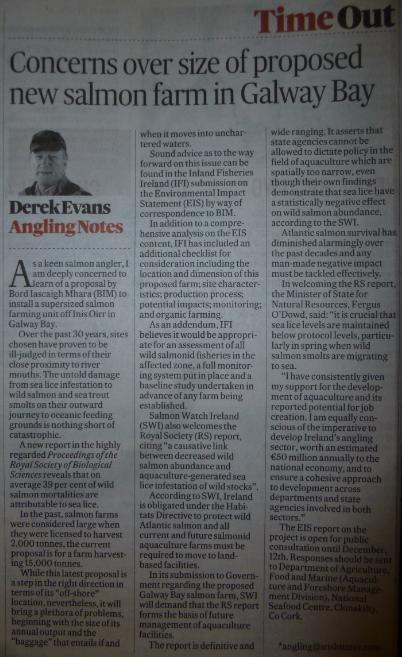 Irish Times 26 Nov 2012 #2 Derek Evans article