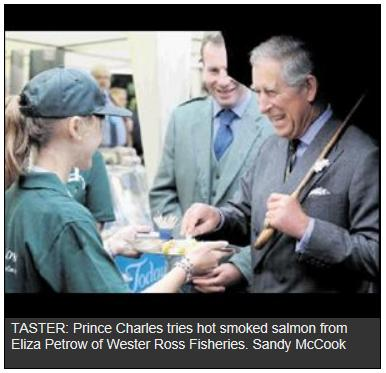 Prince Charles eating farmed salmon