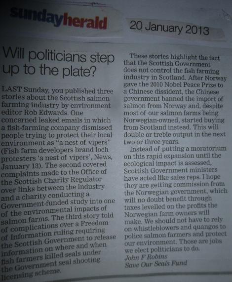 Sunday Herald letter from John Robins 20 Jan 2013