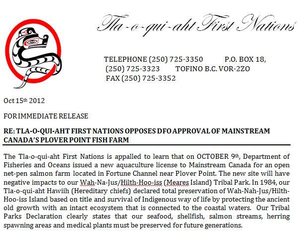 TFN PR 15 Oct 2012 on Plover Point