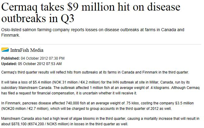 Intrafish on Cermaq $9 disease loss Oct 2012