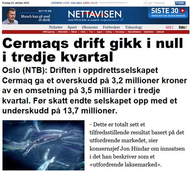 Cermaq Nettavisen 23 Oct 2012