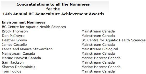 Aquaculture awards PAA #2