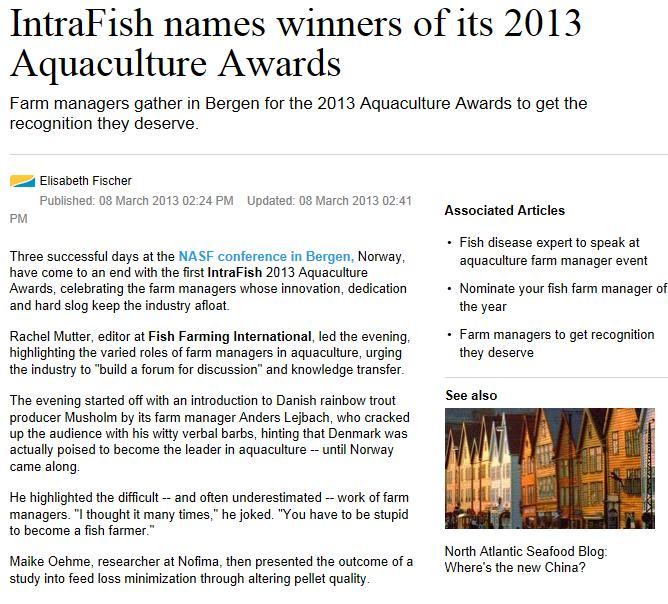 Aquaculture Awards 2013 #2 Intrafish