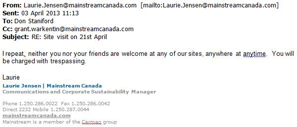 Mainstream site visit cancelled 3 April 2013 #2
