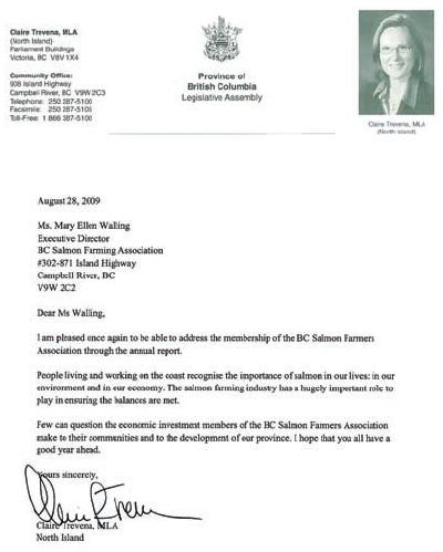 Claire Trevena letter to BCSFA