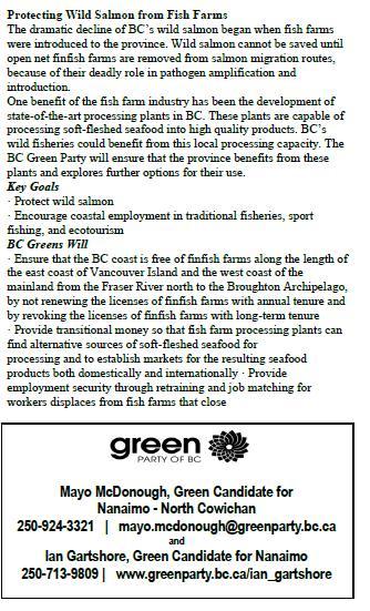 Green party statement vs salmon farms