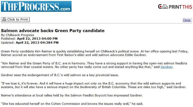 Green Party Chilliwack Progress