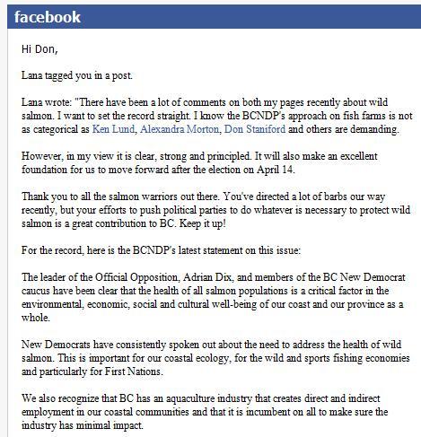Lana Popham statement on Facebook #1