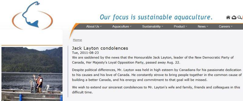 Jack layton Mainstream condolences