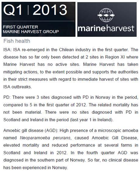 MH Q1 2013 fish health ISA PD AGD
