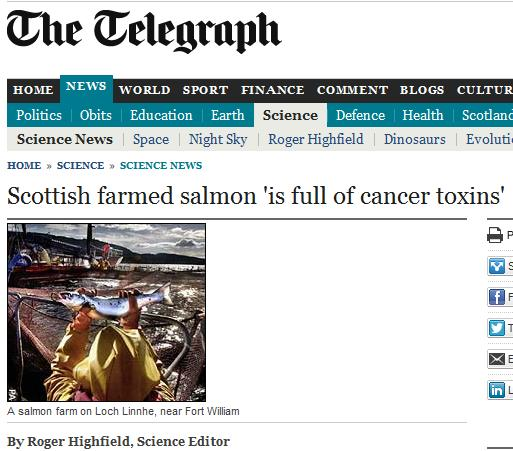 Telegraph on cancer salmon