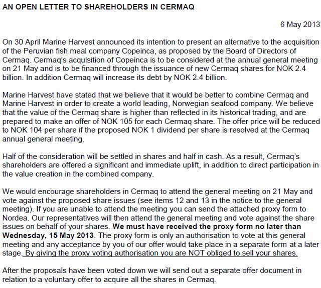 MH Cermaq Open letter #1