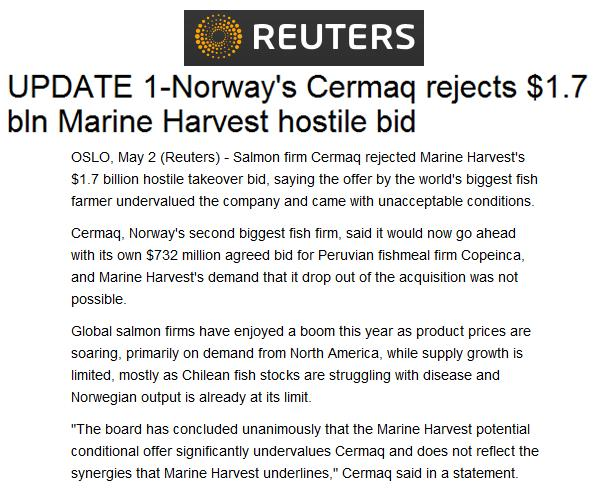 MH Cermaq rejects bid Reuters