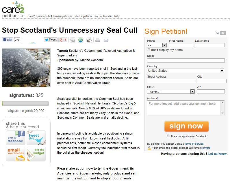 Care 2 seal petition