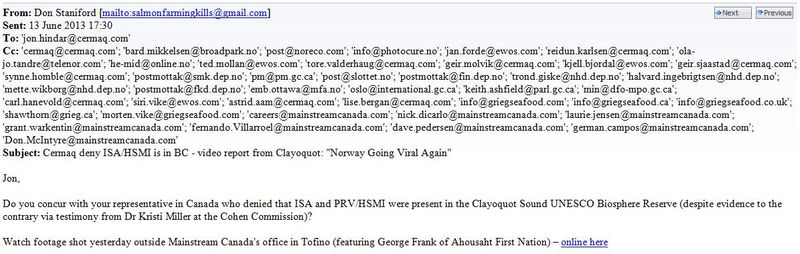 Cermaq email re ISA June 2013