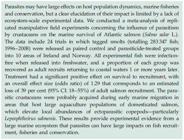 Royal Society sea lice paper abstract