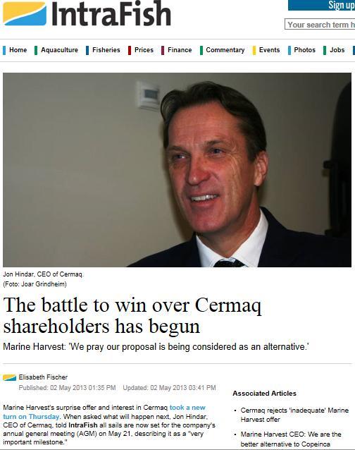MH Cermaq Intrafish battle shareholders
