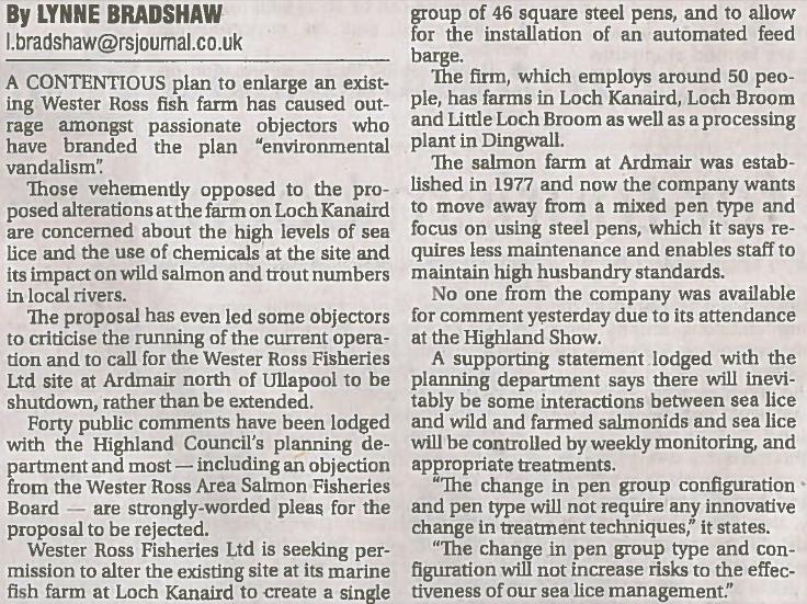 Ross-shire Journal 21 June 2013 fron page environmental vandalism story #3 part 1