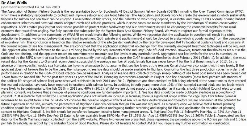 Loch Kanaird objection ASFB June 2013