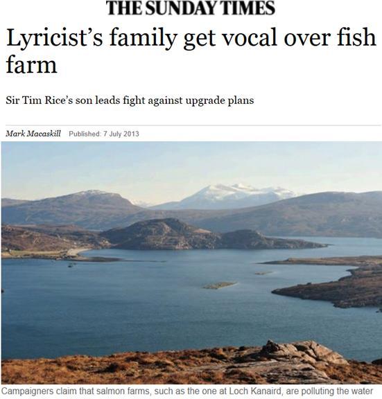 Sunday Times on Rice vs WRF Loch Kanaird 7 July 2013 #1 headline