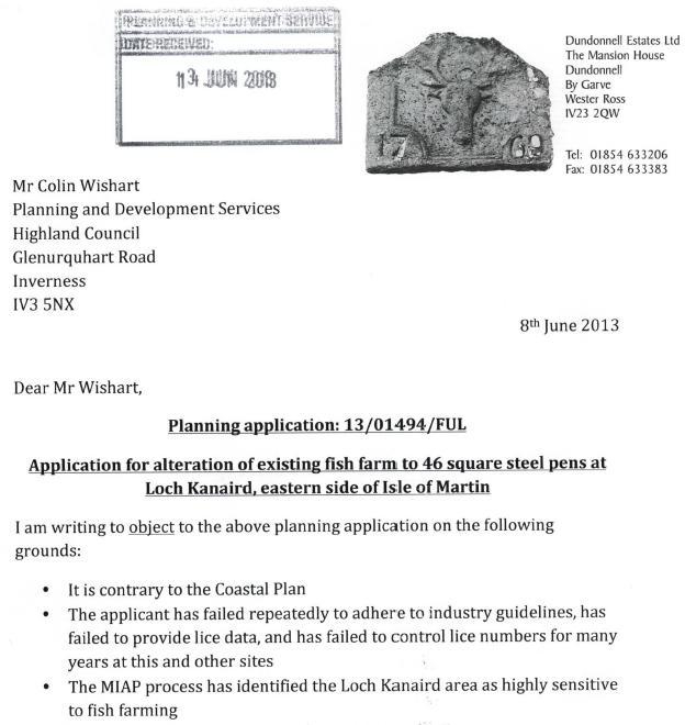Loch Kanaird objection Donald Rice June 2013 #1