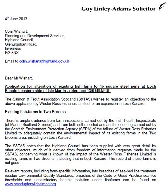 S&TA objection to Loch Kanaird June 2013