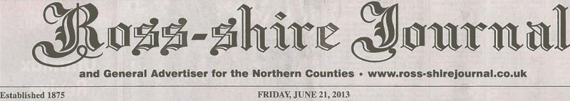Ross-shire Journal 21 June 2013 fron page environmental vandalism story #2 header