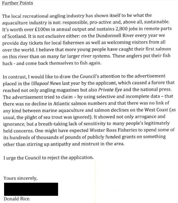 Loch Kanaird objection Donald Rice June 2013 #4