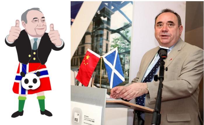 Salmond thumbs up China kilt