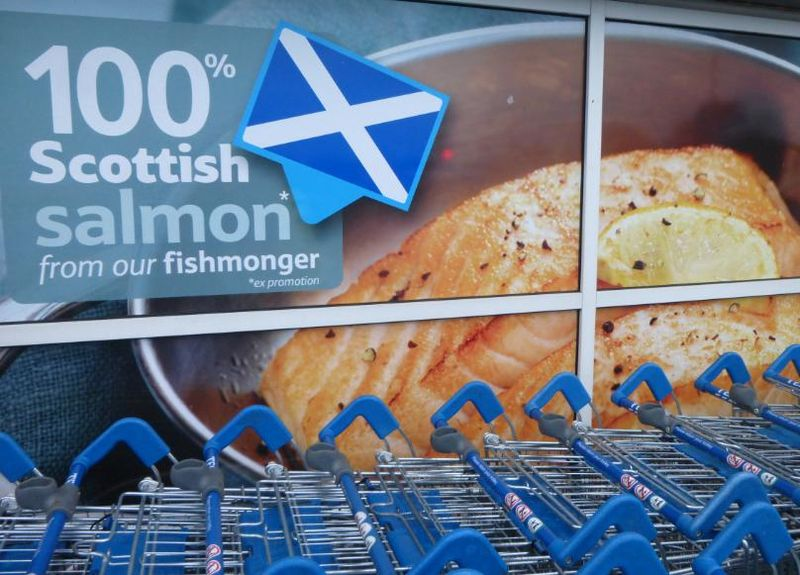 Low res photo Tesco 100% Scottish Salmon poster Perth 20 March 2014