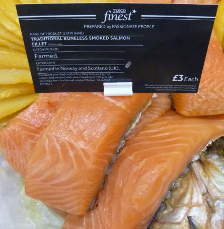 Low res photos #3 Tesco Inverness 22 March 2014 Farmed salmon from Norway sold as 100% Scottish