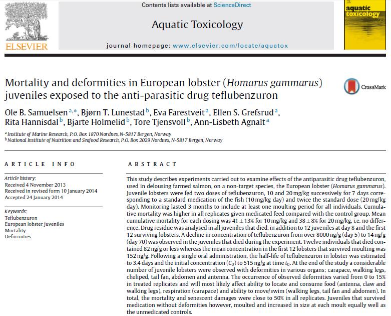 Samuelsen 2014 paper on Teflubenzuron in Aquatic Toxicology #1 Abstract