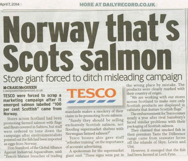 Daily Record 7 April 2014 newspaper