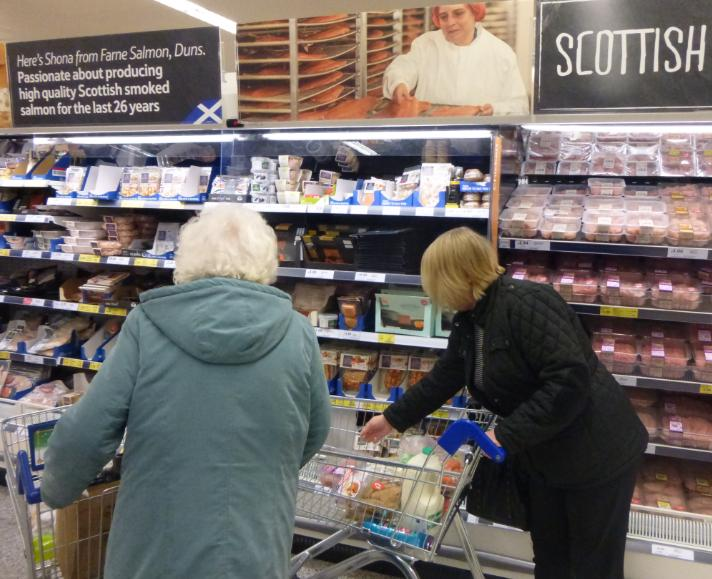 Low res photos #5 Tesco Perth 28 March 2014 Scottish salmon display with mostly Norwegian farmed salmon